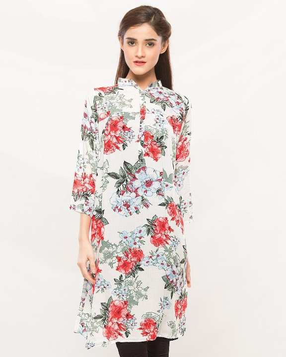 Red Cotton Printed Kurti For Women