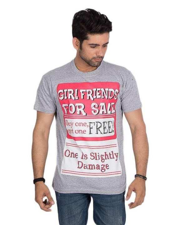 Grey Cotton Printed T-Shirt For Men