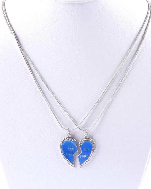 Best Friend Broken Heart with Chain - Blue
