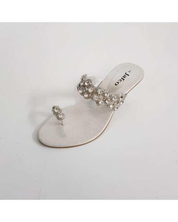 Silver Rexine Heels For Women