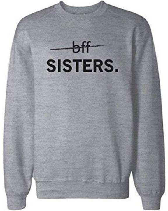 Grey Sister Printed Round Neck Full Sleeve SweatShirt