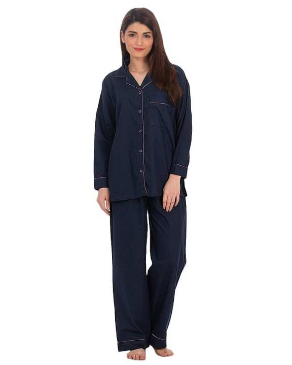 Blue Semi Cotton Pajama Set For Women - Pj222 Nv