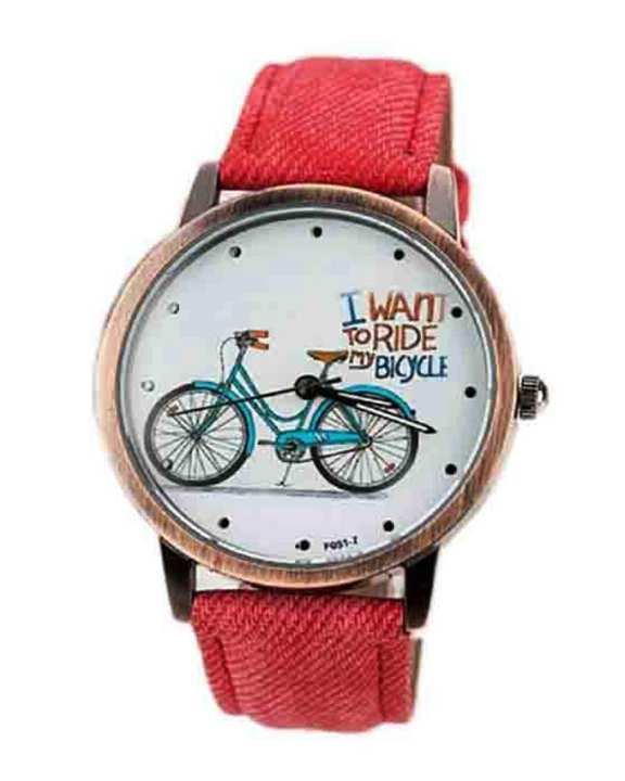 Red Denim Strap Bicycle Watch for Women