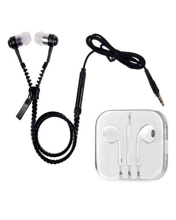 Pack of 2 - Woofers Earphones & Zipper Handsfree - Black & White