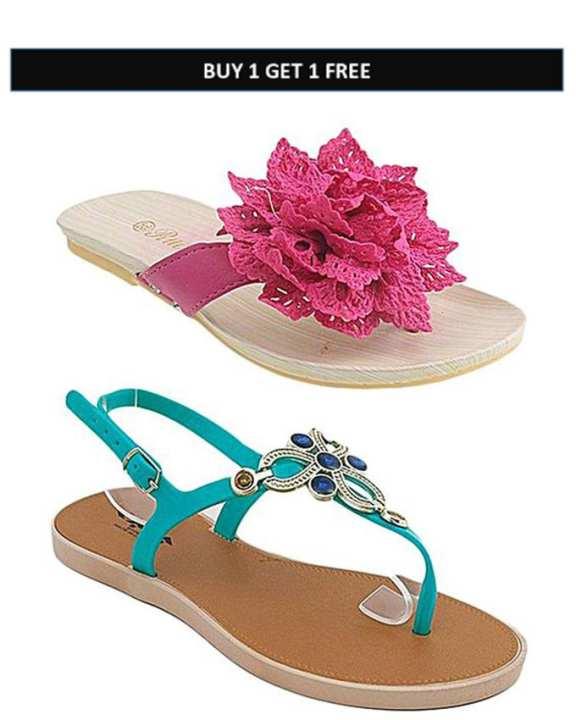 Pack Of 2 - Fancy Sandal & Floral Slipper For Women - MT3