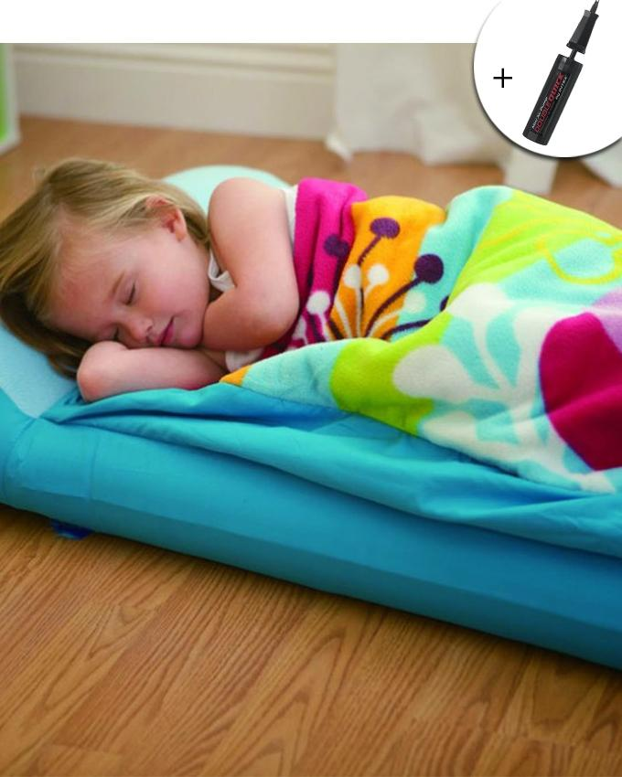 Sleeping Bag & Airbed For Kids With Free Air Pump - Blue