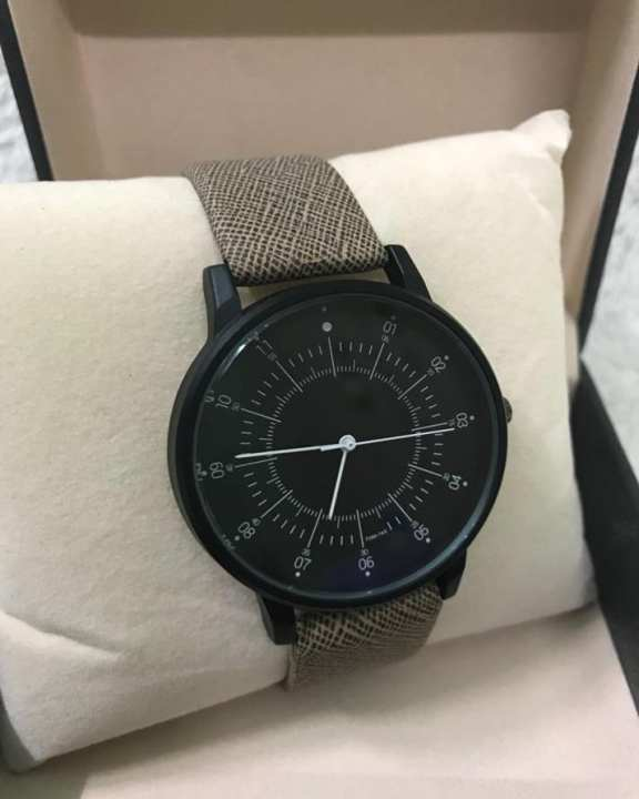 Black Dial Leather Band Watch For Men - Quartz