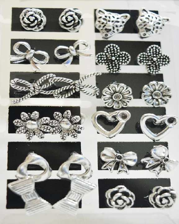 Pack Of 12 Pair Of Silver Plated Tops