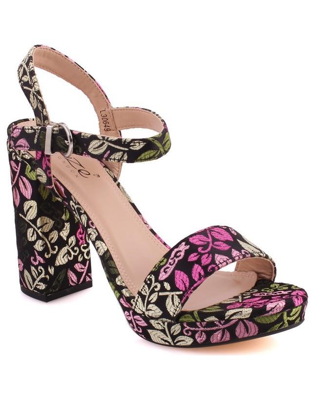 "3619c38a6fc Black Fabric Women ""Reba"" Floral Print Platform Wedge Block Heel Sandals  L30649"
