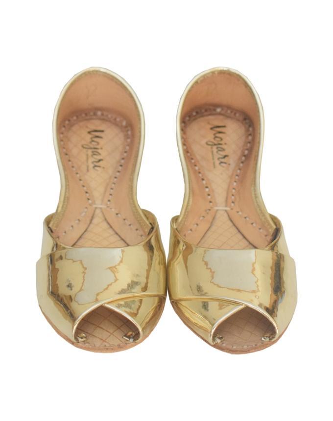 Light Gold Sheesha Leather Plain Peep Toe Khussa for Women SS-074
