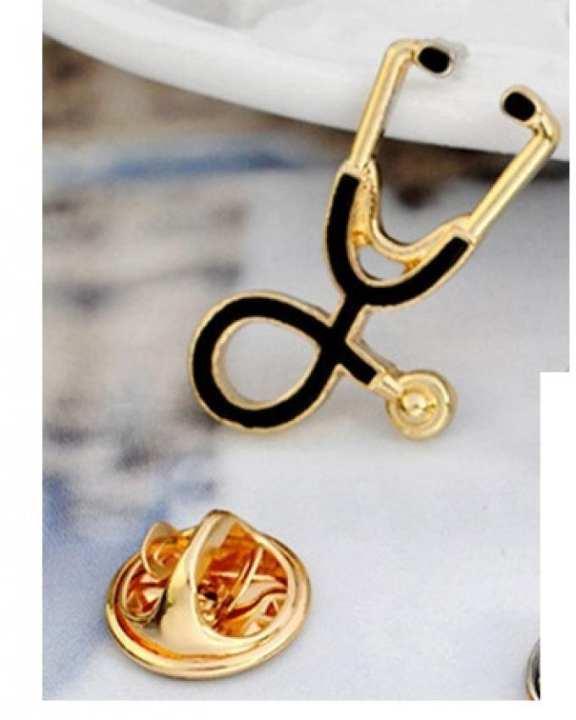 Stethoscope Brooch Lapel Pin - Gold