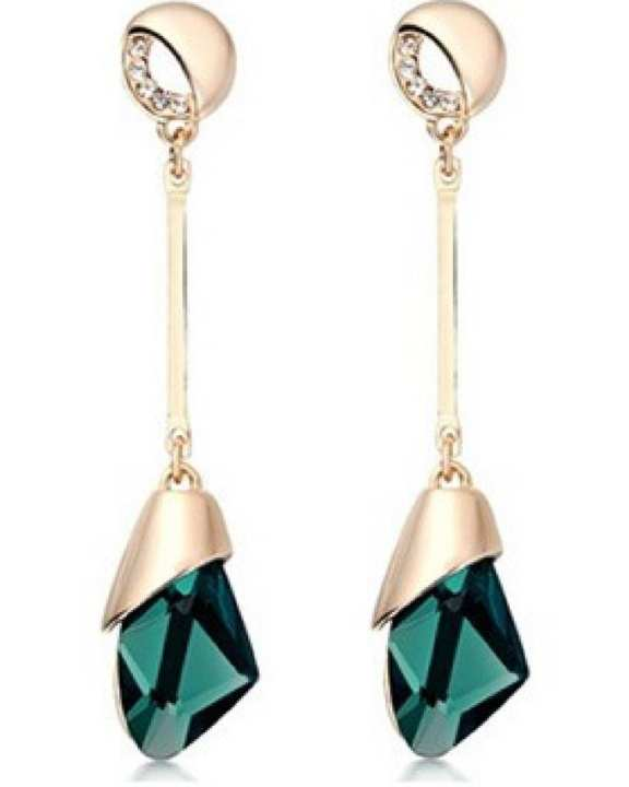 Geometric Crystal Green and Golden Earrings