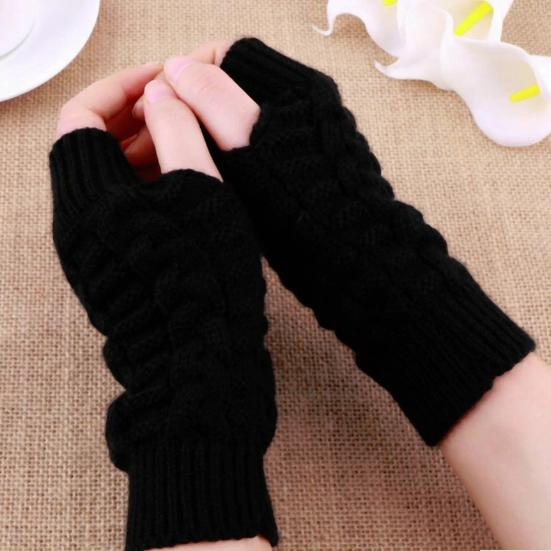 800c037f79e74 Women Knitted Arm Fingerless Winter Gloves Warmth Long Stretchy Mittens