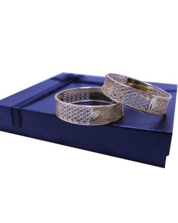 Soz Set Of 2 - Golden Metal Bangles Set For Women