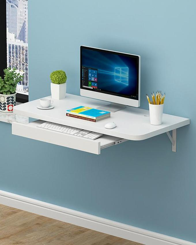 """Portable Table Laptop Table Simple Office Wall-Mounted Computer Desk Flat white 28"""" x 16"""""""