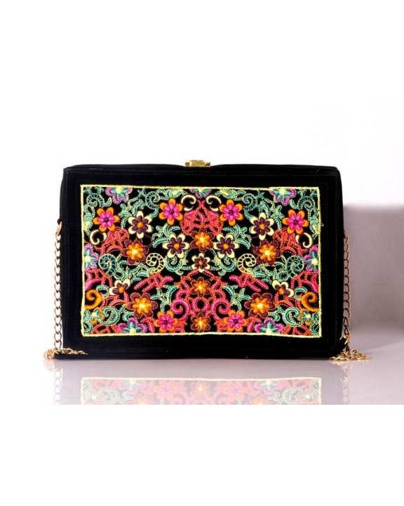 Black Synthetic Purse Clutch Formal