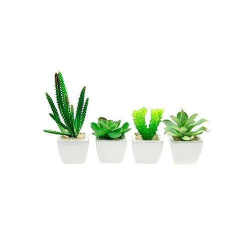 Set of 4 - Decorative Lifelike Mini Artificial Plants in White Ceramic Pots