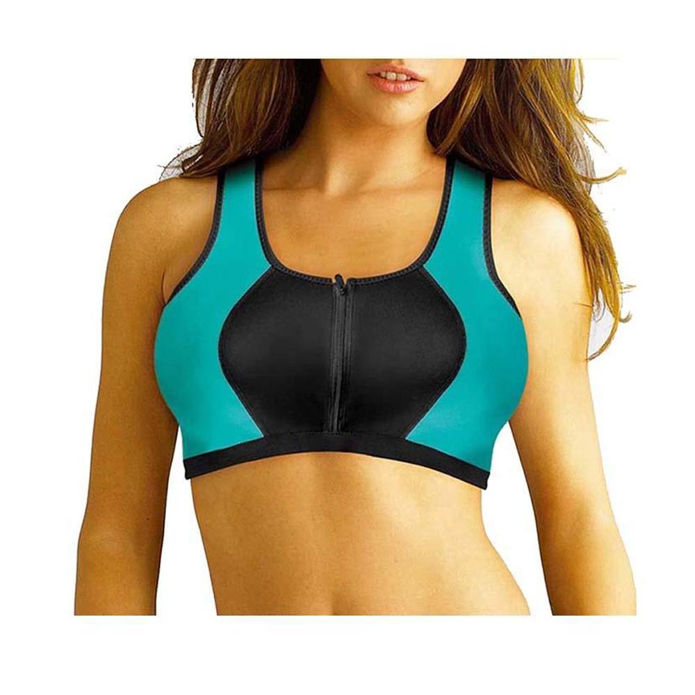 5e51202d2c794 Women s Neoprene Zipper Front Breathable Gym Yoga Sports Bra - Blue