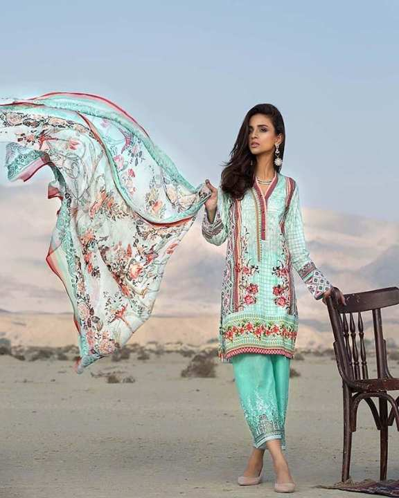 Gul Ahmed - Turquoise  Chantilly with Embroidered Front/Shalwar Digital Printed Back/Sleeves  3PC-Unstitched -  CT-243-158460