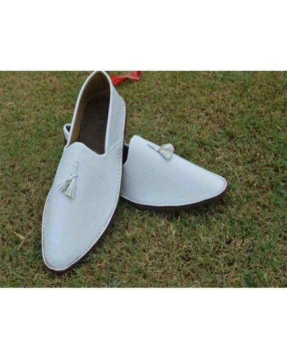 White Artificial Leather Shoes - For Men
