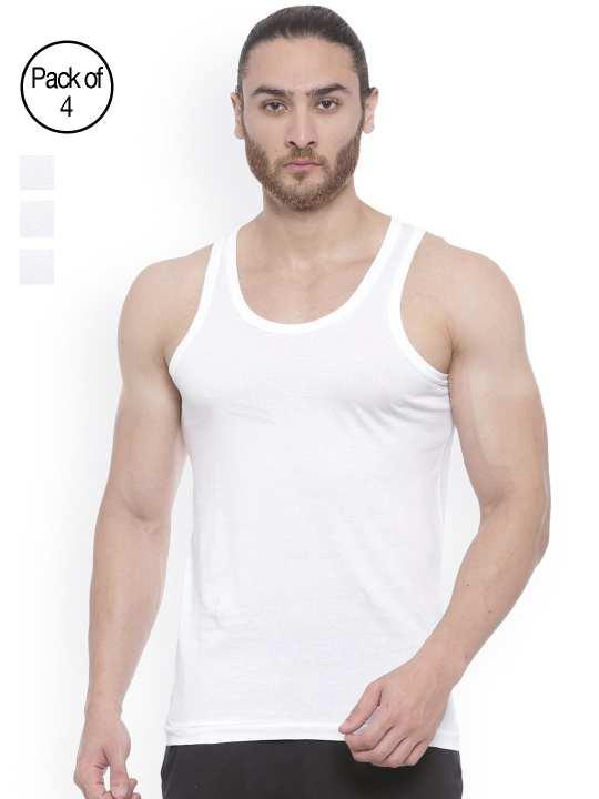 Pack of 4 White Inner wear Vest For Men