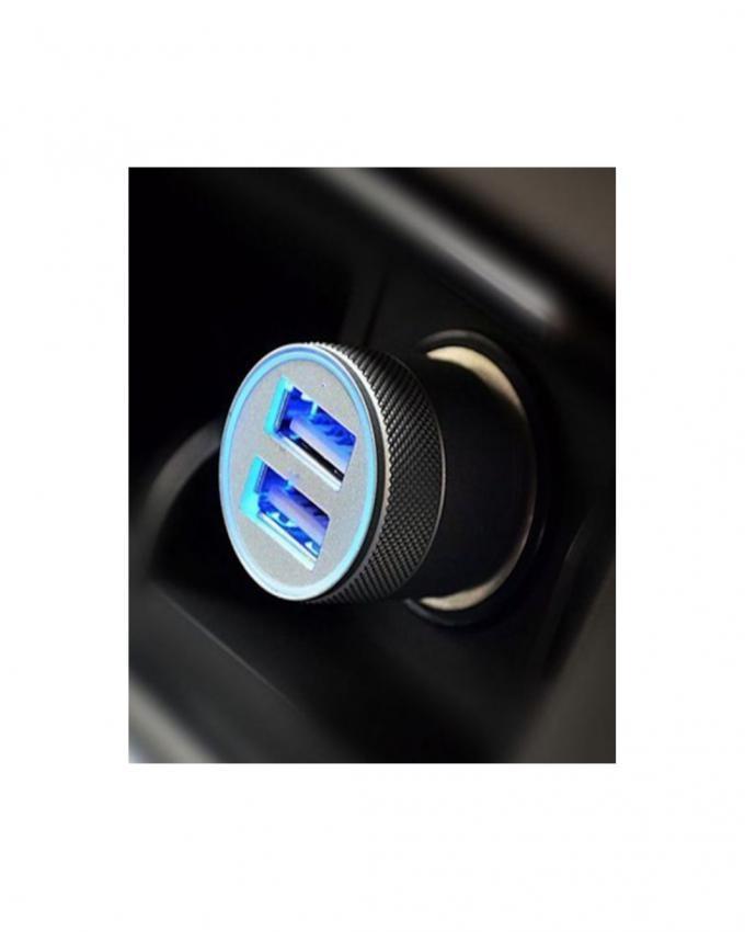 Dual USB Car Charger - Universal Adaptor - Grey & Black