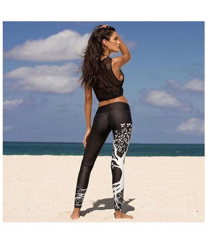 b12eae89e Women Female Workout Sports Gym Fitness Exercise Athletic Pencil Pants Tree Print  flexible track Tights Sweatpants