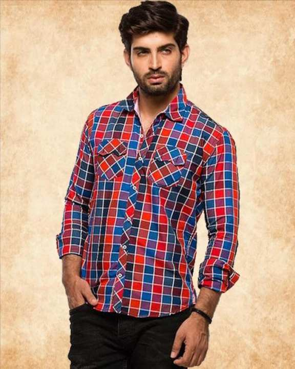 Maroon Cotton Checkered Shirt For Men