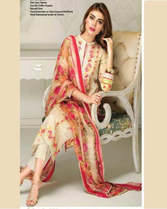 Pinkish Skin Embroidery UnStitched Suit - 3 Pieces