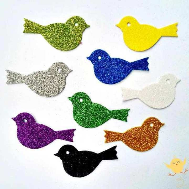 Sparrow Glitter Fomic Sheet Cuttings - Art Work - Best For Child Men Women Girl Boy School Academy - 3 Sparrow Per Pack