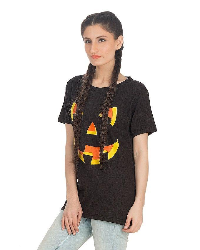 Black Cotton Danger Face Printed T-Shirt For Women