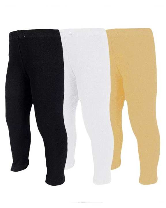 Pack of 3 Lycra Plain Tights for Girls