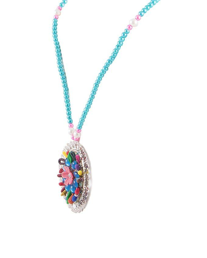 Multi Color Metal Hand Made Necklace & Earring Set for Women - RIZ-NKS-54
