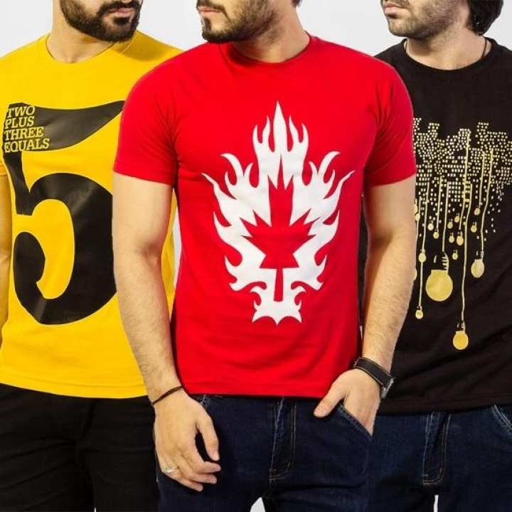 Pack of 3 Graphics Printed T-shirts For Men. TA-3