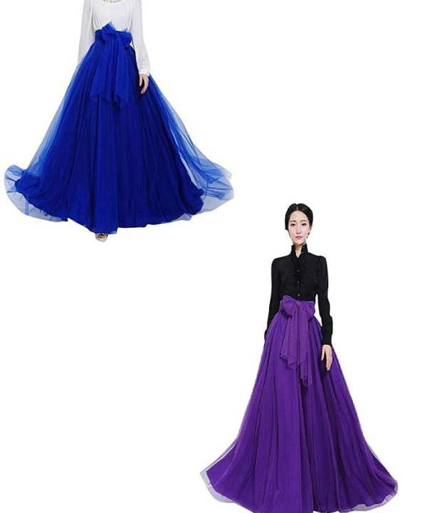 pack of 2 silk and net maxi