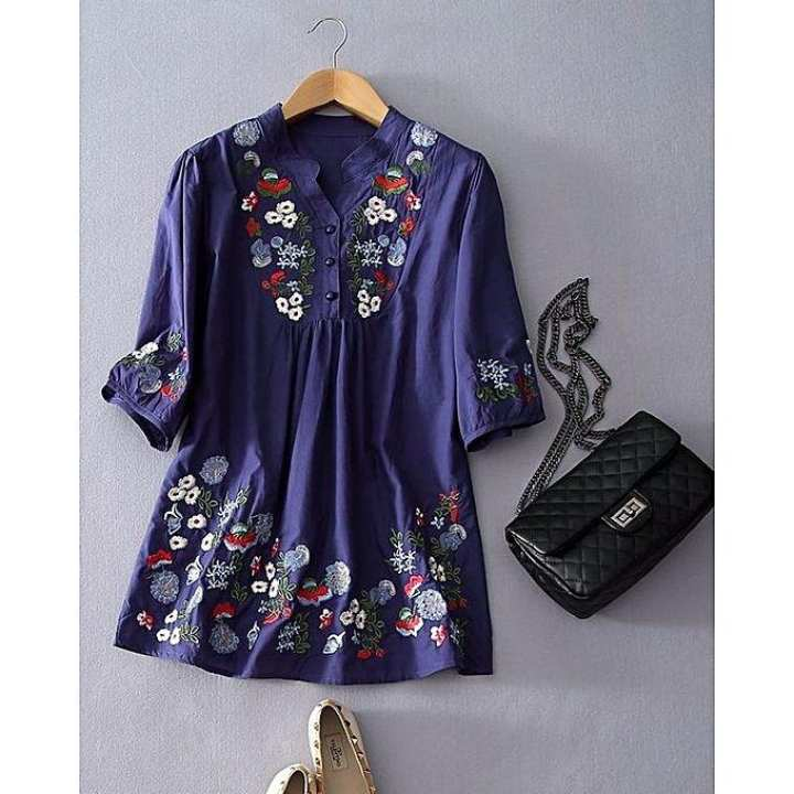 Blue Embroidery Kurti For Women