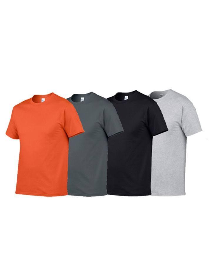 Pack of 4 Multi color Round Neck Plain Cotton Tshirts
