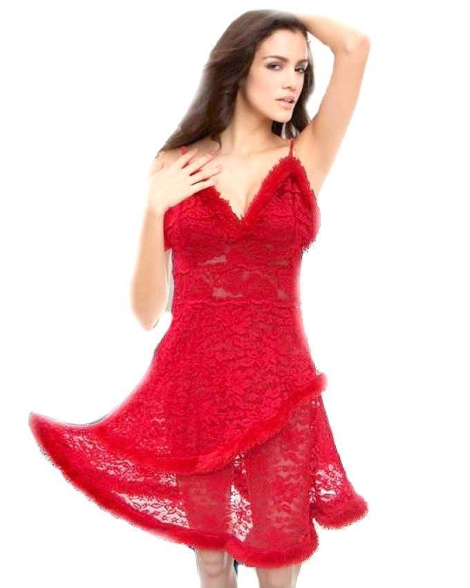 c55aae2aa5 Red Net   Fur Elegant Nighty - 309