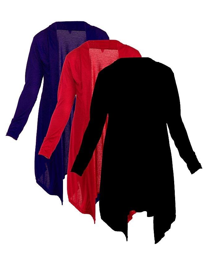 Pack of 3 - Multi Color Cotton Jersey Shrugs for Women - CWC251