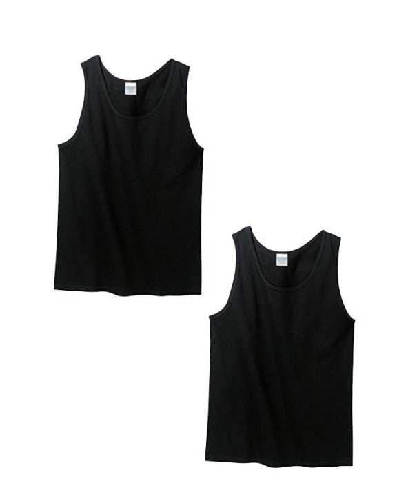 Pack of 2 - Black Cotton Vests for Men
