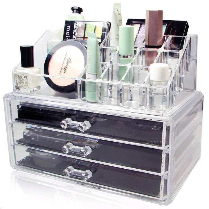 Cosmetic Storage Box Transparent 3 drawers