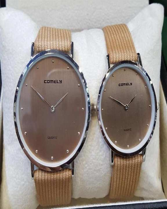 Comely Watch Set Brown Dial Leather Band Watch for couple