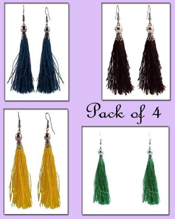 Pack of 4 - Alloy Tussle Earrings for Women