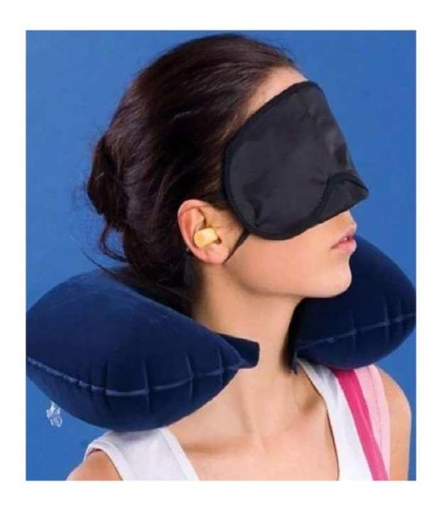 3 In 1 Air Travel Kit Combo - Inflatable Pillow, Ear Buds & Eye Mask(Assorted,Pillow - Flannelette, Ear Buds - Cotton Foam, Eye Mask - Polyester)