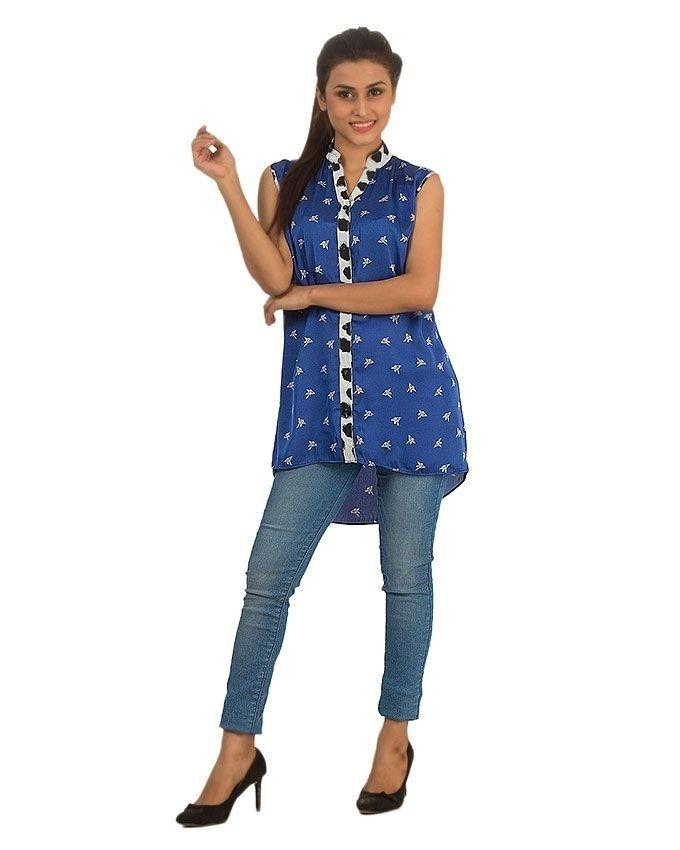 Blue Origami Printed Satin Tunic with Spotted Collar for Women