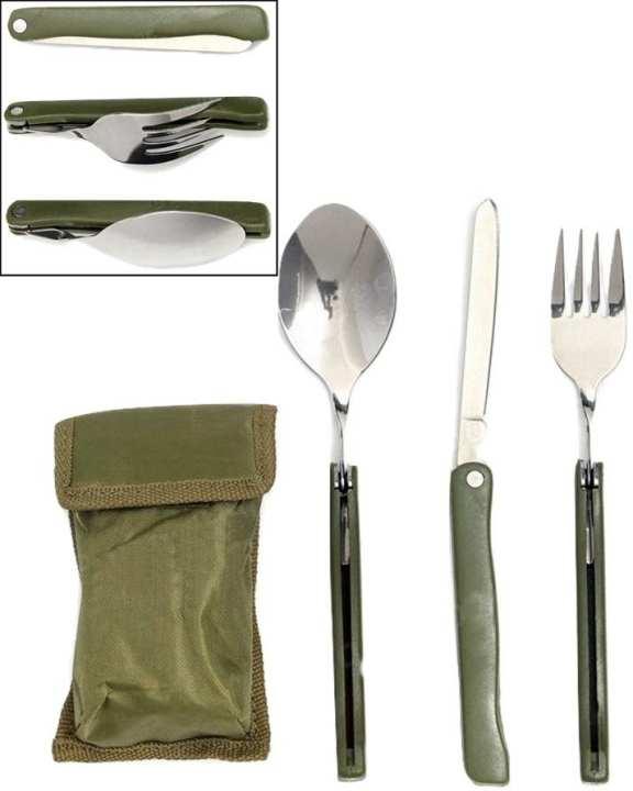 3 In 1 Outdoor Folding Dinnerware Spoon Fork Knife Set