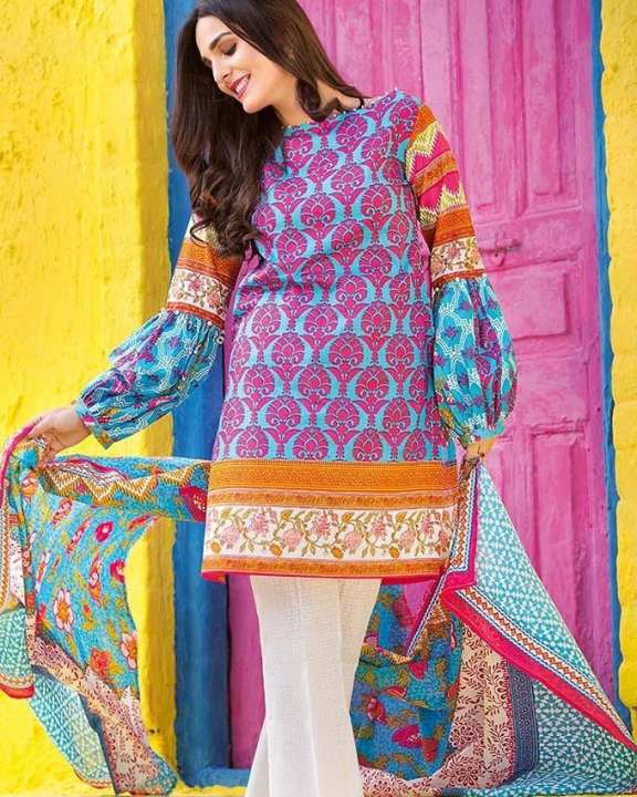Blue Normal Printed 3 Pcs Lawn-Unstitched