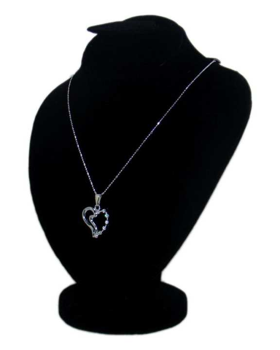 Silver Metal Beautiful Love Heart Stone Pendant for Women