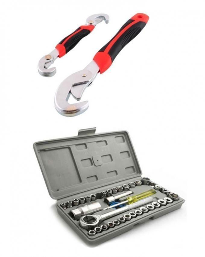 Pack of 2 - Snap & Grip Wrenches & Combintion Socket Set - 42 Pcs