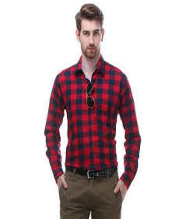 Red & Blue Check Casual / Fancy Cotton Shirt For Men'S